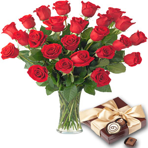 2 Dozen Red Roses in a Vase W/ Chocolate