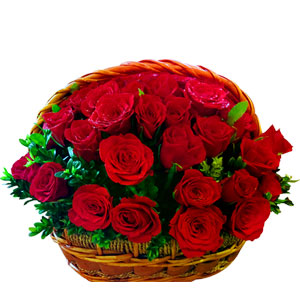 (09) 2 dozen red roses in a basket