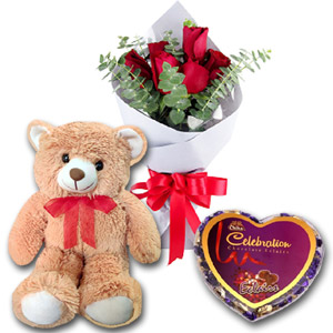 (66) Six pcs Red roses W/ chocolate and Bear