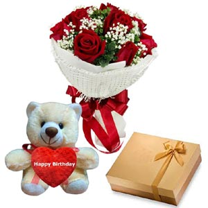 (07) 1 dz Red Roses W/Chocolate and Bear