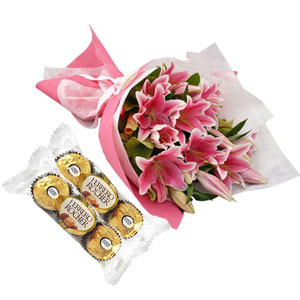 Pink Lilies in a Bouquet W/Ferrero Rocher Chocolate