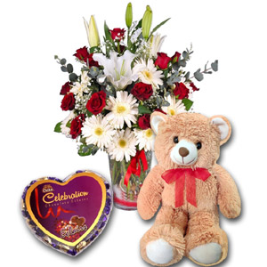 (59) Mixed Flower in vase W/ Bear & Chocolate