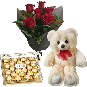(55) Red roses W/ 24 pieces Ferrero Rocher Chocolate and Bear