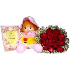 (18) Red Roses W/ Doll & Picture Frame
