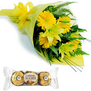 (46) Gerbera & Lily in bouquet W/ Ferrero Rocher Chocolate