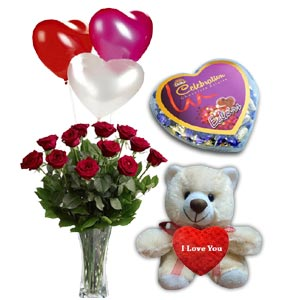 Bear W/ Roses in a vase, Chocolate & Balloons