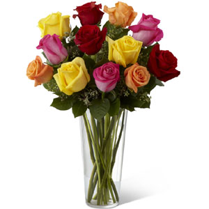 (10) 1 Dozen multicolor roses in vase