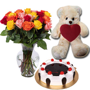 (24) Swiss  - Black Forest Cake W/Bear & 24 mix roses in vase