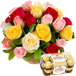 (16) Multicolor Rose Basket W/ Ferrero Rocher Chocolate