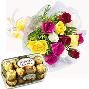 (003) Multicolor Roses W/ Ferrero Rocher Chocolate