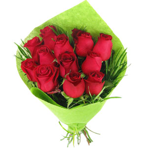 (03) 1 Dozen Red Roses in bouquet