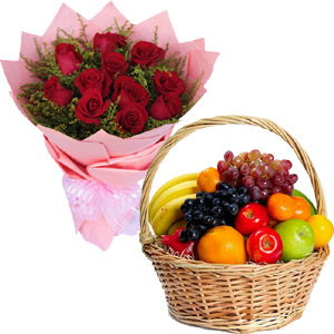 (43) 1 Dozen Red Roses w/ Mixed Fruits