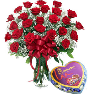 2 dz Red Roses W/Chocolate