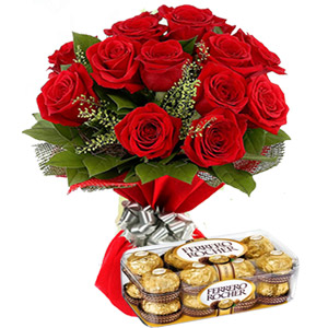 (05) Red Roses W/ Ferrero Rocher Chocolate