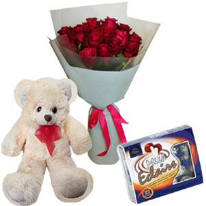 1 dz Red Roses W/Chocolate and Bear