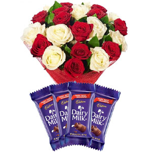 2 dozen white and red roses mix W/Chocolate