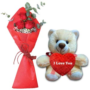 (004) Red Roses W/ Teddy Bear & Heart