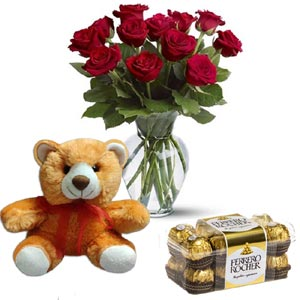 (37) Roses in vase W/ Ferrero Rocher chocolate & Bear