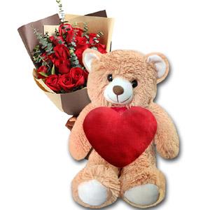 (12) Teddy Bear w/ 1 dz red roses