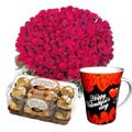 (34) 100 Pieces Red Roses W/ Ferrero Rocher Chocolate & Valentine Mug