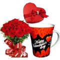 (07) 12 Pieces Red Roses W/ Chocolate & Valentine Mug