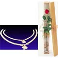 Silver Anklet(Nupur) W/ 1 Piece Red Rose