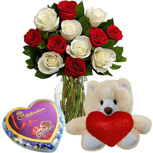 (32) 1 Dozen Red & white Roses in a Vase W/ love shape Chocolate & small Bear