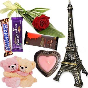 (0006)Twin bear W/ Eiffel Tower, Heart Candle, Red rose, Hazelnut,Dairy milk & Snickers Chocolate
