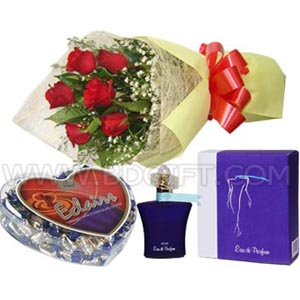 (16) Women's branded Perfume W/ Heart Shape Chocolate & Red roses in a bouquet.