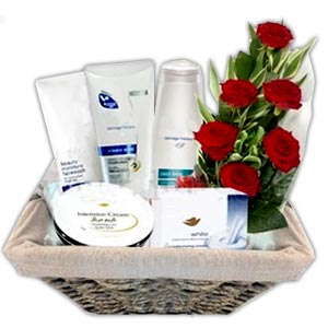 (68) Cosmetic Gift basket W/ 6 Piece Red Roses