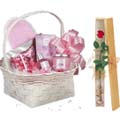 Cosmetic gift basket W/ 1 Piece Red Rose