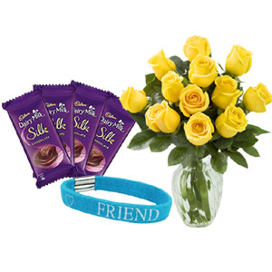 (0003) Chocolate W/ Friendship band & Yellow roses