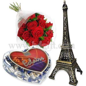 (04) Romantic love symbol Eiffel Tower W/Red Roses & chocolate.