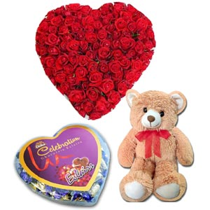(46) Heart Shaped Roses W/101 Roses, Chocolate & Bear