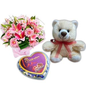 (60) Lily, Gerbera & Carnation in bouquet W/chocolate & Bear