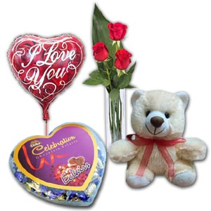 (03) 3 Pcs Red Roses in vase w/ Bear, Chocolate & Balloon