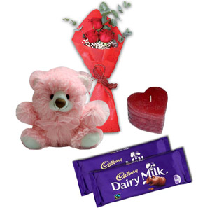 3 Pcs Red Roses w/ Bear, Chocolate & Candle