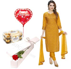 (45) Cotton Salwar Kameez W/  Ferrero Rocher Chocolate, Red Rose & Balloon