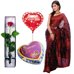 (41) Jamdani Silk Sharee W/ Rose, Chocolate & Balloon